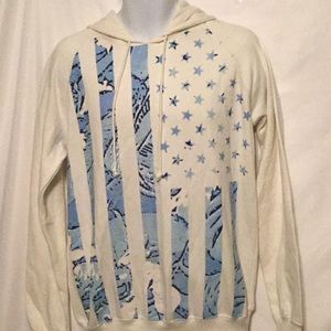 BLACK JACK DMA MEN SZ M HOODIE SWEATER BLU/ WHITE